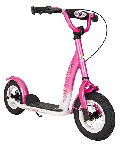 BIKESTAR® Premium Mädchentraum Kinderroller für sichere und sorgenfreie Spielfreude ab 5 Jahren ★ 10er Classic Modell ★ Flamingo Pink & Diamant Weiß