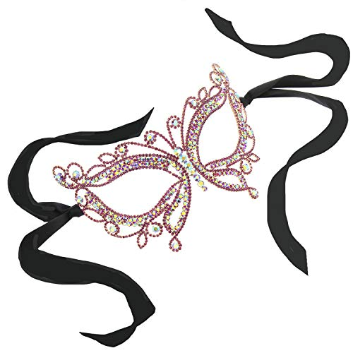 Sparkling Crystal Stone Masquerade Ball Venetian Butterfly Mask in Fuschia ()