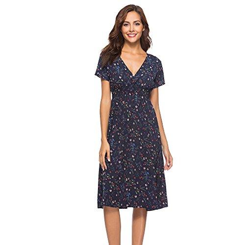 ZEFOTIM✿Women's Short Sleeve Loose Plain Maxi Dresses Casual Long Dresses with Pockets(A-Navy,XX-Large)