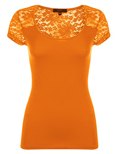 Luna Flower Women's Short Sleeve Fitted Floral Lace Cotton Knit Shirts, Orange, US Small