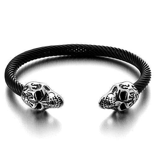 Elastique Réglable Crâne de Sucre Noir Bracelet Homme Femme d'acier inoxydable - Bracelet Manchette Câble Torsadé