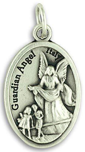 Bulk Buy 5 Pcs - Guardian Angel/St Michael Archangel 1 Inch Pendants Charms with Rings
