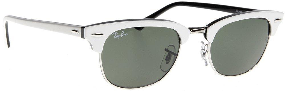 748952edd8 Ray-Ban 2156 956 Top White on Black 2156 New Clubmaster Wayfarer Sunglasses  Lens Category 3  Amazon.co.uk  Clothing