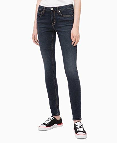 Calvin Klein Women's Mid Rise Super Skinny Fit Jeans, Portland blue/black, 26W X 32L