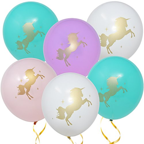 """White Balloon Pastel - 36 Unicorn Balloons Decorations 36 Pack 12"""" Light Pink White Purple and Turquoise Colors With Printed Gold Unicorns for Girls Women Kids Baby Shower Birthday Party Favor Supplies by Gift Boutique"""