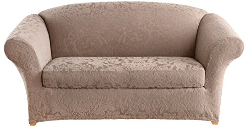 Loveseat Slipcover Box Cushion - Sure Fit Stretch  Jacquard Damask 2-Piece - Loveseat Slipcover  - Mushroom (SF40159)