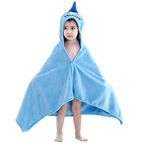 (MICHLEY Animal Face Baby Bath Towels, Highly Absorbent Coral Fleece Bathrobe for Boys Girls 0-5T (Shark))