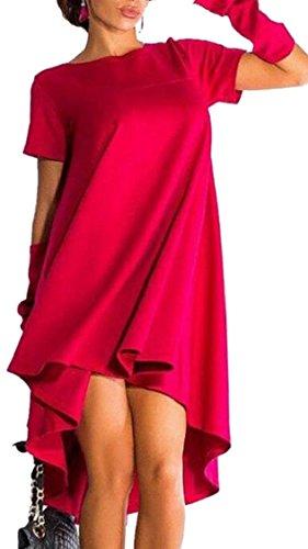 Jaycargogo Femmes Couleur Unie Encolure Ras Du Cou Haut Bas Robes À Manches Courtes Rouge Irrégulières