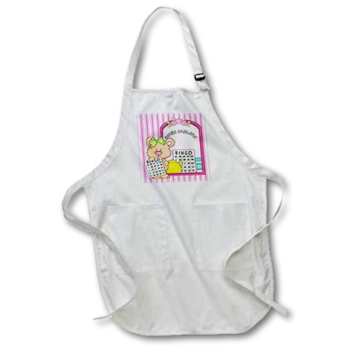3dRose apr_104474_2 Cute Bingo Bear at The Bingo Parlor Pin Stripes Background-Medium Length Apron with Pouch Pockets, 22 by 24-Inch by 3dRose