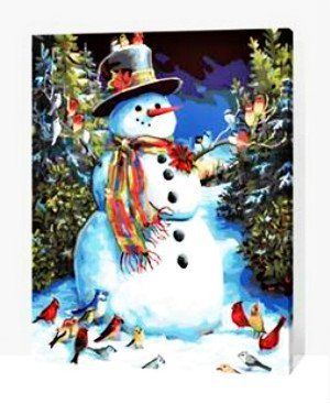 [WOODEN FRAME]Diy Oil Painting Paint By Number Kit-Christmas Gift Snowman 16*20 inch