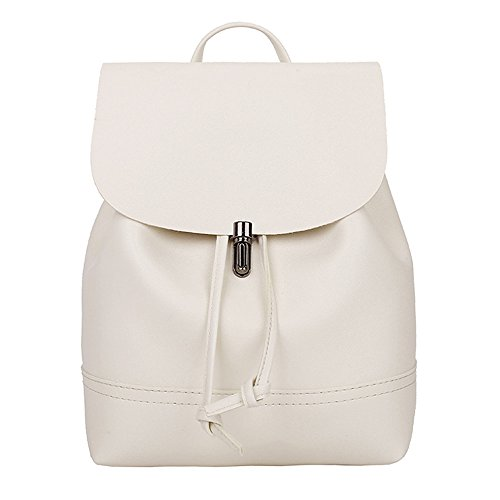 Shoulder Bag Satchel Bag School Trave KIMODO Women Beige Backpack Color Pure Leather qIqXvz8