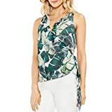 Vince Camuto Womens Jungle Palm Crepe Floral Print Wrap Top Green S