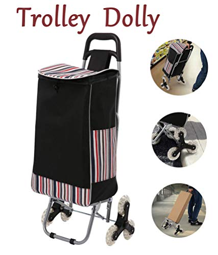 Trolley Dolly Stair Climber, Foldable Grocery Cart Utility Cart Shopping Stair Climbing Cart Condo Apartment (Black) ()