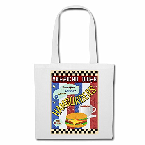 "Bolsillo Bolso Bolsa ""American Diner hamburguesa del cheeseburger de ENSALADA DE CAFÉ DESAYUNO COMIDA dieta de adelgazamiento CALORÍAS FIGURA APTITUD IMC ENGRASAMIENTO DICK DELGADO FIGURA DESTACA ÁMBI"