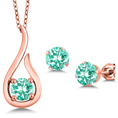 1.49 Ct Blue Apatite 18K Rose Gold Plated Silver Pendant Earrings Set With (Apatite Pendant Set)