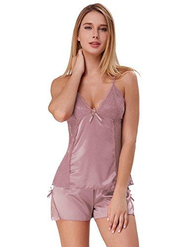Satin Lingerie for Women Lightweight Camis Shorts Pjs Coffee Size XL ZE55-4 - Light Coffee Satin