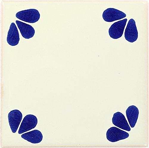 Tierra y Fuego Box of 9-4¼ x 4¼ Blue Ville - Talavera Mexican Ceramic Tiles