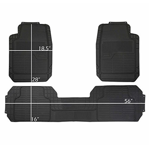 PIC AUTO Rubber Floor Mats - 100% Odorless & All Weather Heavy Duty (3-piece,black) 02 ()
