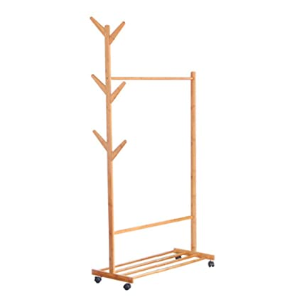 Perchero Cmxdz Creativo Piso Colgador de bambú Dormitorio ...