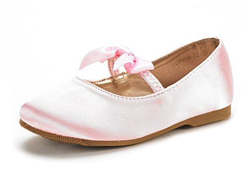 DREAM PAIRS SOPHIA-22 Adorables Mary Jane Front Bow Elastic Strap Ballerina Flat Little Girl New Pink Big Kid Size4