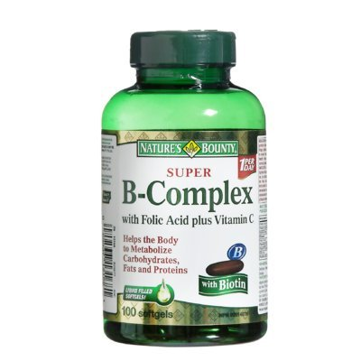 Nature's Bounty Super B-Complex with Folic Acid plus Vitamin C with Biotin 100 Softgels