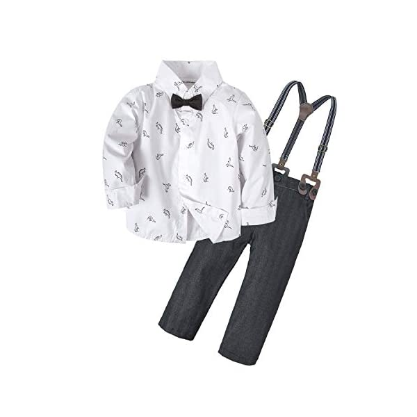 Kerrian Online Fashions 41JrGKGY3vL BIG ELEPHANT 2 Pieces Baby Boys Long Sleeve Dresses Shirt Overalls Set