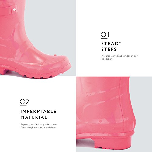Calf Ankle Mid DailyShoes Round Women's Hunter Rainboots Pink Toe High Rain Buckle EOnqg
