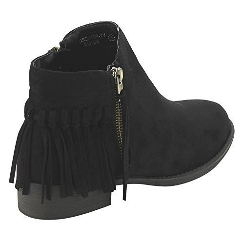 Bella Marie Oscarr-11 Women's Fringe Side Zipper Flat Heel Ankle Booties Black