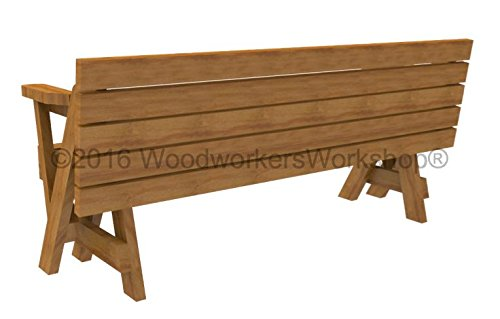 Woodworkersworkshop Woodworking Plan to Build a Convertible Folding Bench/picnic Table (Not a ...