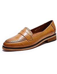 Women Leather Slip-On Pointy Penny Loafers Shoes Dress Casual Flats Shoes for Ladies