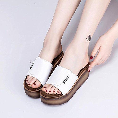 Ajunr Moda/elegante/Transpirable/Sandalias Zapatillas Muffin 7cm de espesor inferior Un arrastre blanco ,34 34