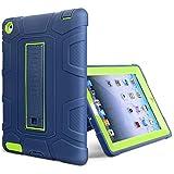 iPad 2 Case, iPad 3 Case, iPad 4 Case, WORLDMOM Anti-Slip Three Layer Heavy Duty Rugged Shockproof Protective Case with Kickstand for iPad 2/3/4 Retina,(Blue&Green)