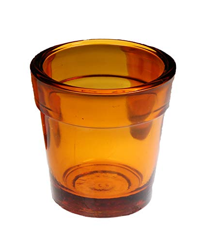Amber True Colored Glass Candleholder Votive Tea Light Heavy Glass Made in USA Box - Colored Votive Holders
