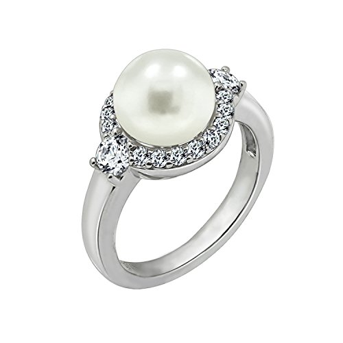 Diamonbliss Platinum Clad Cubic Zirconia Halo Freshwater Cultured Pearl Ring, Size 6