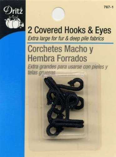 Covered Hooks & Eyes 2/Pkg-Black