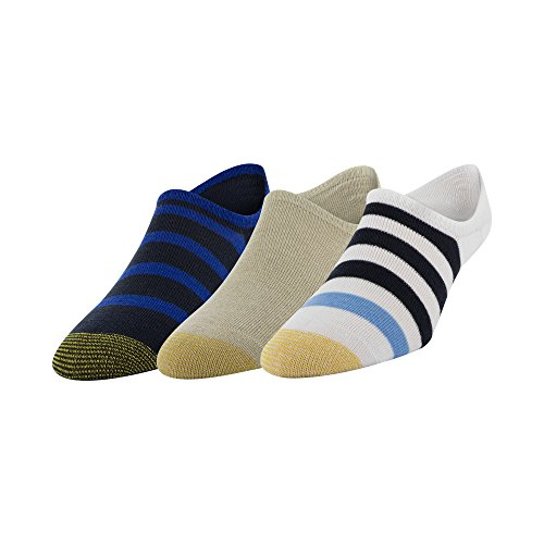 Gold Toe Men's Sta-Cool Oxford Socks, 3-Pack, Oatmeal/Blue Rugby Stripes, Shoe Size: 6-12.5
