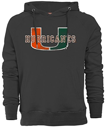 NCAA Miami Hurricanes Men's Sueded Fleece Pullover Hoodie, Large, Carbon