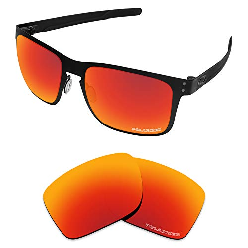 Tintart Performance Lenses Compatible with Oakley Holbrook Metal Polarized Etched-Fire Red (Headlamp Glue)