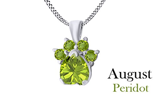 Jewel Zone US Heart & Round Cut Green Simulated Peridot Dog Paw Pendant In 14K White Gold Over Sterling Silver (Cut Round Pendant Peridot)