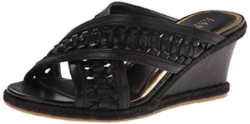 Lauren Ralph Lauren Women's Giana Wedge Sandal, Black Burnished Leather, 7 B (Black Basket Woven Leather)
