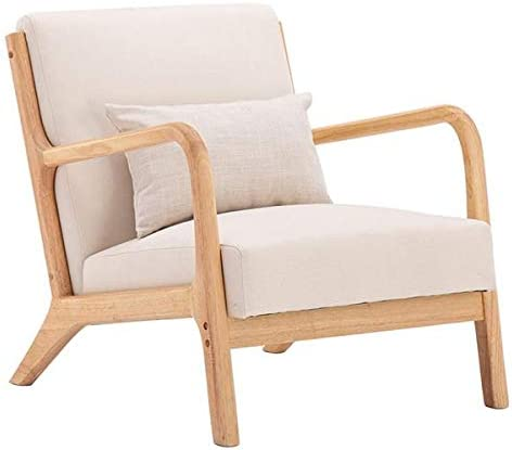 Kimave Accent Chair Fabric Oak Accent Sofa Mid-Century Modern Arm Chair for Living Room Bedroom, Beige