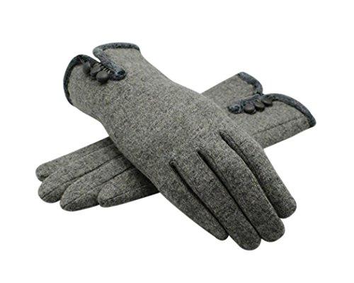 Veenajo Women's Thick Winter Warm Cashmere Woolen Gloves Mittens Fleece Lining (Gray)