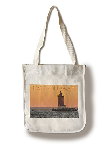 Lantern Press Lewes, Delaware - Cape Henlopen Lighthouse Sunset (100% Cotton Tote Bag - Reusable)
