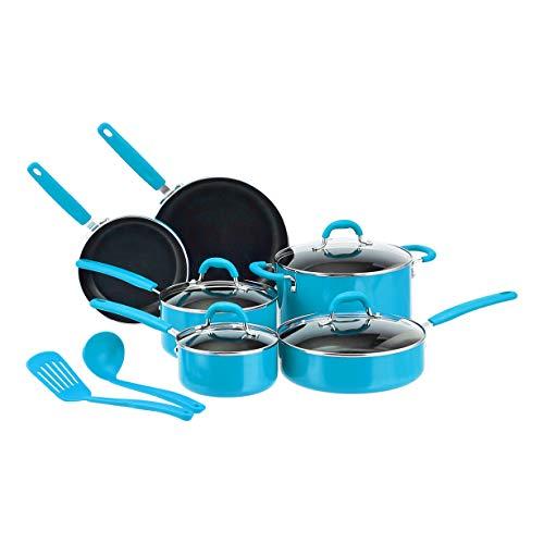 Amazon Basics Ceramic Non-Stick 12-Piece Cookware Set, Turquoise – Pots, Pans and Utensils