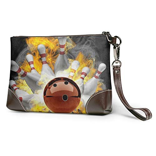 Women's Leather Zipper Wristlet Fire Bowling Ball Cellphone Card Wallets Clutch Holder Purse