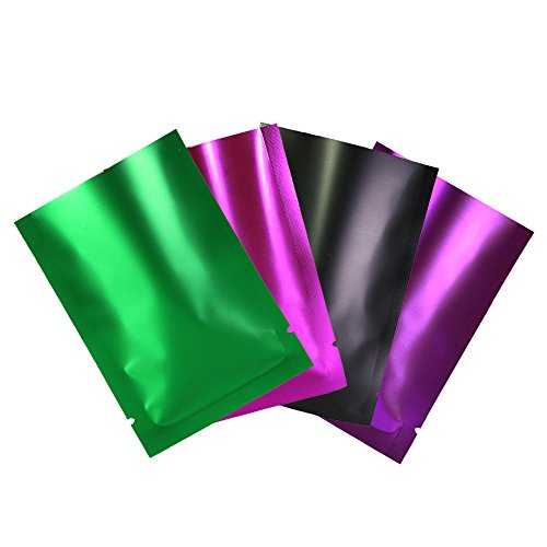 "100pcs Crystal Clear Matte Colored Flat Open Top Fill Mylar Sample Pack Pouch (3.5"" x 5.1"", Mixed)"