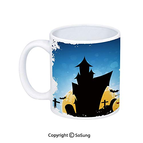 Halloween Coffee Mug,Gothic Ancient Castle Moon Cruciform Graveyard Tree Silhouette Abstract,Printed Ceramic Coffee Cup Water Tea Drinks Cup,Blue Black Yellow -