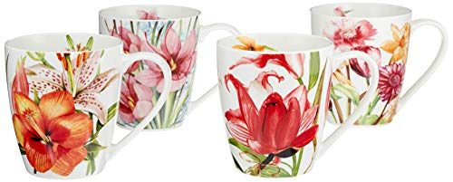 Eileen's Reserve 12-Oz New Bone China Floral Mug Set for Coffee and Tea, Set of 4 (Summer Bone China)