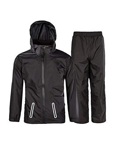 (WANGZHEFIRST Boys&Girls Hooded Windproof and Waterproof Jacket Light Rainwear (Jacket & Trouser Suit) Black-Suit 14)