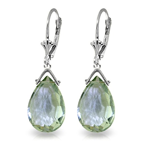 10.2 Carat 14K Solid White Gold Leverback Earrings Briolette Green Amethyst